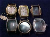 vintage lot of 6 Art Deco wristwatch cases