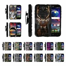 For ZTE Grand X 3 / ZMax Champ / Warp 7 Rugged Hybrid Holster Belt Clip Case