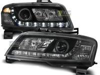 Coppia di Fari Anteriori LED DRL Look per FIAT STILO 3D 2001-2008 Daylight Neri