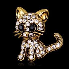 HK- Women Vintage Gold Tone Little Cat Rhinestone Brooch Pin Scarf Accessory Fas