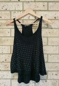 Black Studded Double Layer Singlet Top, Ladies 8, Summer Fun, Girl Express