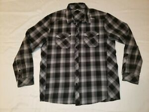 Icebreaker Men's L Lodge Flannel Shirt Gray/Black Plaid 100% Merino Wool