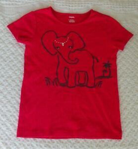 Gymboree 9 Girls Shirt Elephant Short Sleeve Hot Pink summer spring