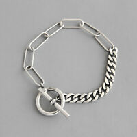 Retro Woman's Real S925 Sterling Silver Curb Link Chain Bracelet OT Clasp
