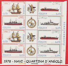 Francobolli REPUBBLICA di italia costruzioni navali in QUARTINA nuovi 1978 lotto