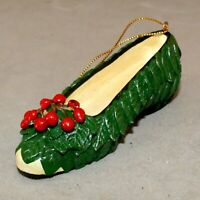 Christmas Ornament CERAMIC Shoe FLAT HOLLY BERRY Green Red RANA'S USA SELLER