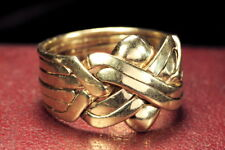 LARGE VINTAGE ENGLISH SOLID 9K GOLD 6-BAND PUZZLE RING size 12 & 12 grams!