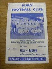 19/08/1967 Bury v Barrow  (Score Noted On Cover & Inside). Thanks for viewing th