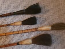 Antique Chinese Bamboo and Bone Calligraphy Brushes (Set of 4)