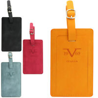 19V69 Italia Luggage Tags, PU Leather Pair with a Hidden Information Cards