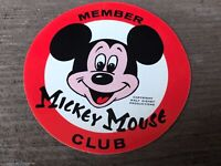 """Vintage MICKEY MOUSE CLUB Decal Sticker c.1950's -60's Red & White - 2 3/4"""""""