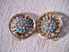 3-D CIRCULAR GOLD TONE CLIP-ON HUGGIES W/TINY SEED PEARL & BLUE BEADED CENTERS