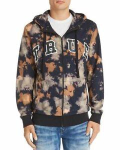 True Religion Men's Tie Dye Arched Logo Zip Hoodie Hooded Sweatshirt