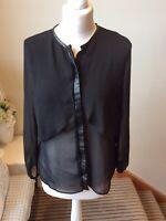 ZARA Black Semi Sheer Button Blouse Size Medium (10/12) Long Sleeve Leatherette