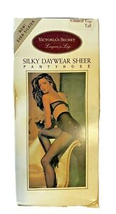 VTG RARE Victoria's Secret Silky Daywear Sheer Pantyhose Control Top Tall BUFF
