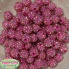 14mm Hot Pink Rhinestone Resin Bubblegum Beads Lot 20 pc.chunky gumball