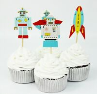24 PCS ROBOT CUPCAKE/ CAKE TOPPERS  / BIRTHDAY PARTY  / ROCKET