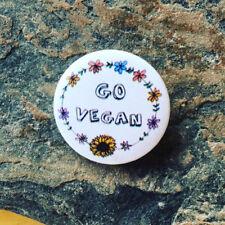 Go Vegan, Vegan Badge, Vegan Gift, For Her, Girl, Printed with Vegan Ink, 25mm
