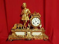 Horloge Ancienne en bronze doré, époque fin XIX ème s
