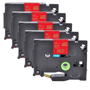 5PK Compatible Brother Satin Ribbon TZe TZ-RW34 Gold On Red Tape Cassette