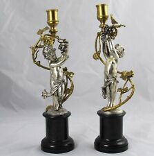 Antique Pair Gilt Bronze & Silver Plate Putti Cherub Candle Sticks Holders