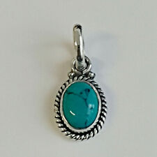 925 Sterling Silver Pendant oval Turquoise Handmade