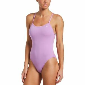 Nike Swim Women's Poly Solid Lace Up Tie Back One Piece -  Fuchsia Glow