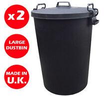 2 x LARGE PLASTIC DUSTBIN - 110 LITRES - LOCKING LID -WASTE BIN -RUBBISH -CHEAP!