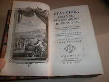 ETAT CIVIL POLITIQUE ET COMMERCANT DU BENGALE PAR DEMEUNIER  1775