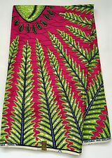 African Fabric, Ankara - Green, Pink 'Cowrie of My Eye', By the Yard