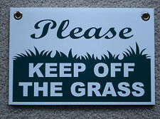 """PLEASE KEEP OFF THE GRASS 8""""X12"""" Plastic Coroplast Sign with Grommets  NEW"""