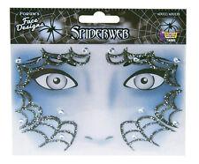 Glitter Rhinestone Spiderweb Face Design Art Self Adhesive Stickers Decor  Makeup