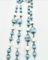 Vintage Long Blown Glass Beaded Necklace Blue Pink White Brass Round Box Clasp
