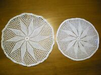 Vintage Hand Crochet Doilies lot of 2 matching round floral 11 and 9 inches