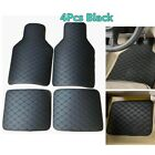Car Floor Mats 4X Universal Front & Rear Floor Liner All-Weather Black PU Carpet