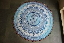 Blue Color Flower Ombre Mandala Multi Color Pompom Round Queen Roundies Cotton
