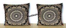 "Indian Mandala 2 Pcs Set Of 24X24"" Black Gold Square Pillow Cushion Covers Throw"
