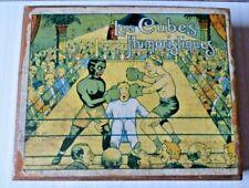 ANCIEN JEU DE CUBES EN BOIS, LES CUBES HUMORISTIQUES, RUGBY, TENNIS, BOXE