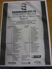 22/03/2014 Teamsheet: Birmingham City v Reading. This item has been inspected, a