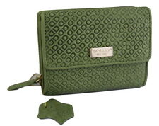 Saddler Leather Embossed Tri-Fold Purse Wallet Avocado Green