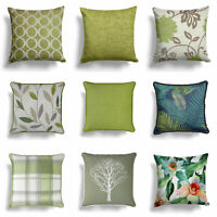 "Green Cushion Covers Lime Cream Beige 17"" / 18"" Cover 43cm / 45cm Cushions"