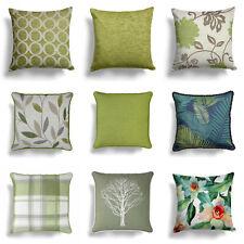 "Green Cushion Covers Lime Cream Beige 17"" / 18"" Cover 43cm / 45cm Cushions"