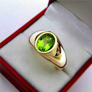 3Ct Oval Cut Green Peridot Men's Solitaire Wedding Ring 14K Yellow Gold Finish