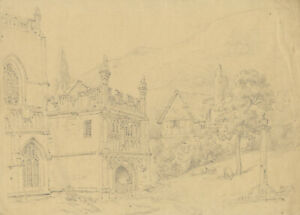 Alexander Monro, Entrance, Great Malvern Priory – early C19th graphite drawing