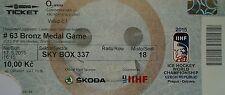 TICKET Sky Box Platz 3 Eishockey WM 17.5.2015 Tschechien - USA  in Prag