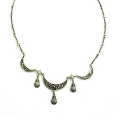 Yemenite Filigree Necklace 925 Sterling Silver Necklace For Women Lobster Clasp
