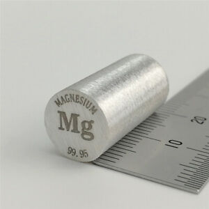 Magnesium  Metall 99,95% 10 Durchmesser x 20mm Länge Element Mg Probe Lackiert