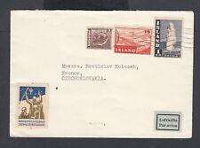 Iceland circa 1950 Airmail Cover Reykjavik To Hronov Czechoslovakia W/ Label