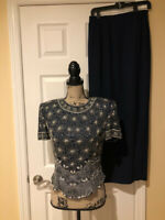 Papell Boutique Evening Silk Beaded Blouse Skirt Suit Outfit Navy Silver 8 EUC