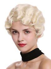 PERRUQUE pour femme années 20 charleston ondulé Raie Blond platine